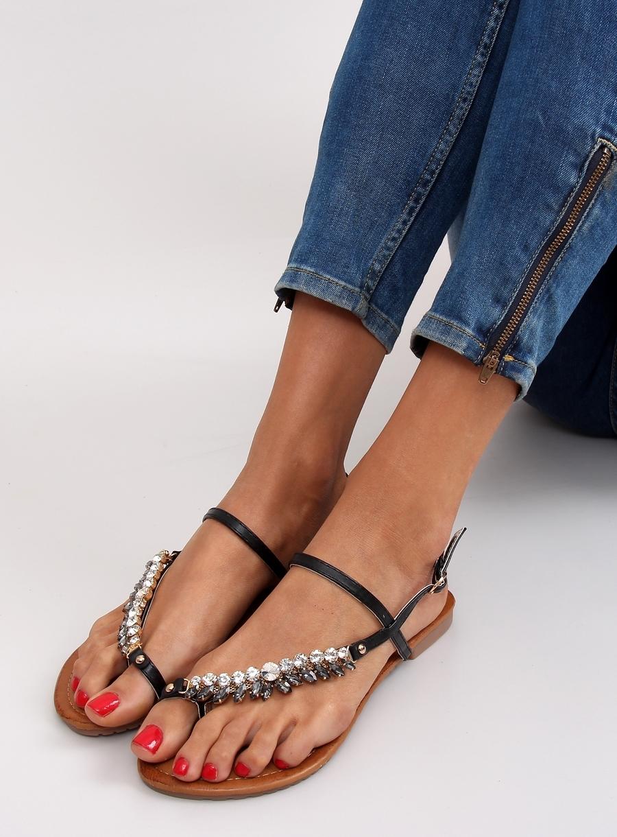 86d8cf1b993c Elegantné dámske čierne sandále s kamienkami - jh33