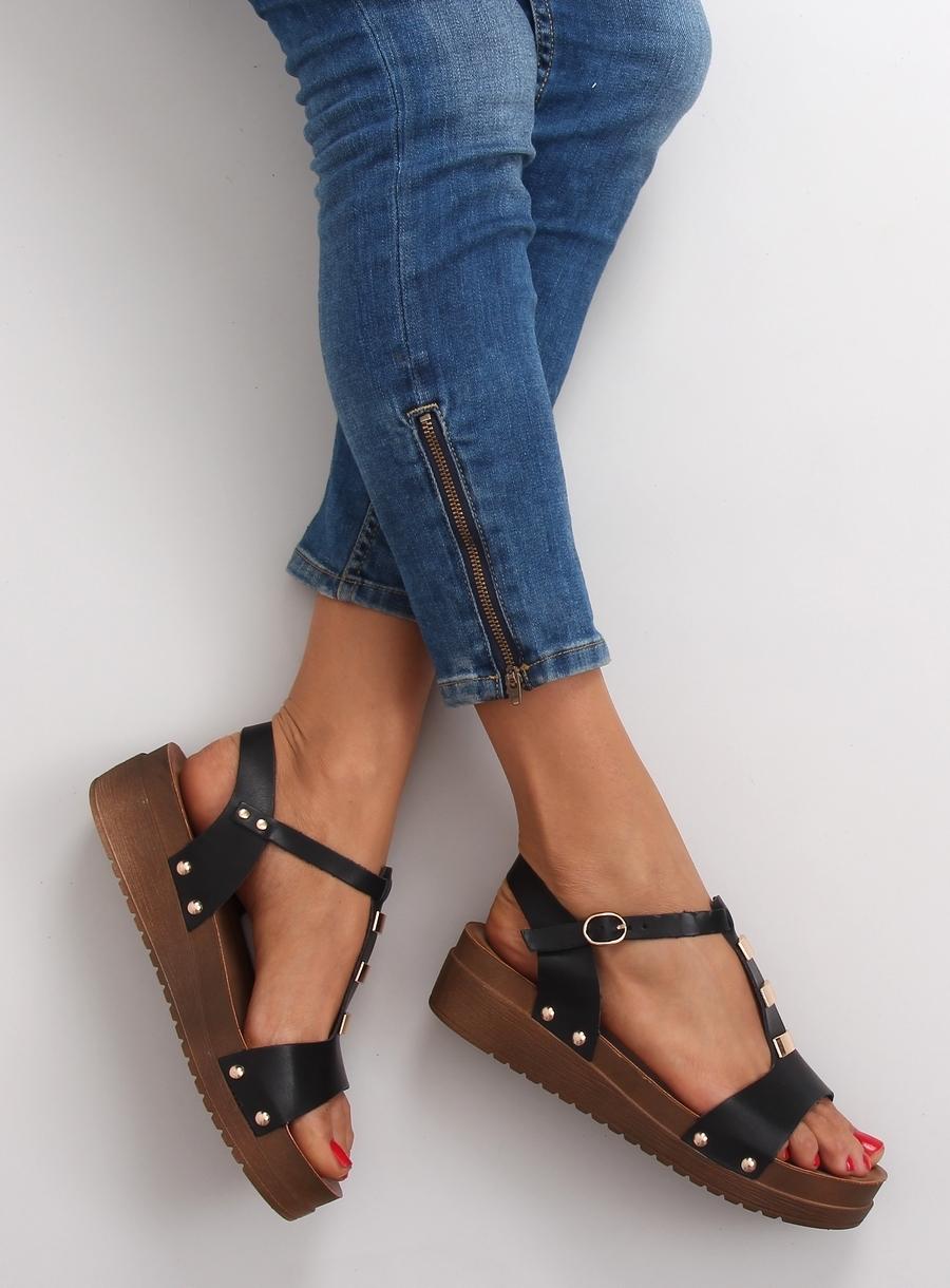 Dámske čierne sandále na platforme - 568-6  8e89cf11273