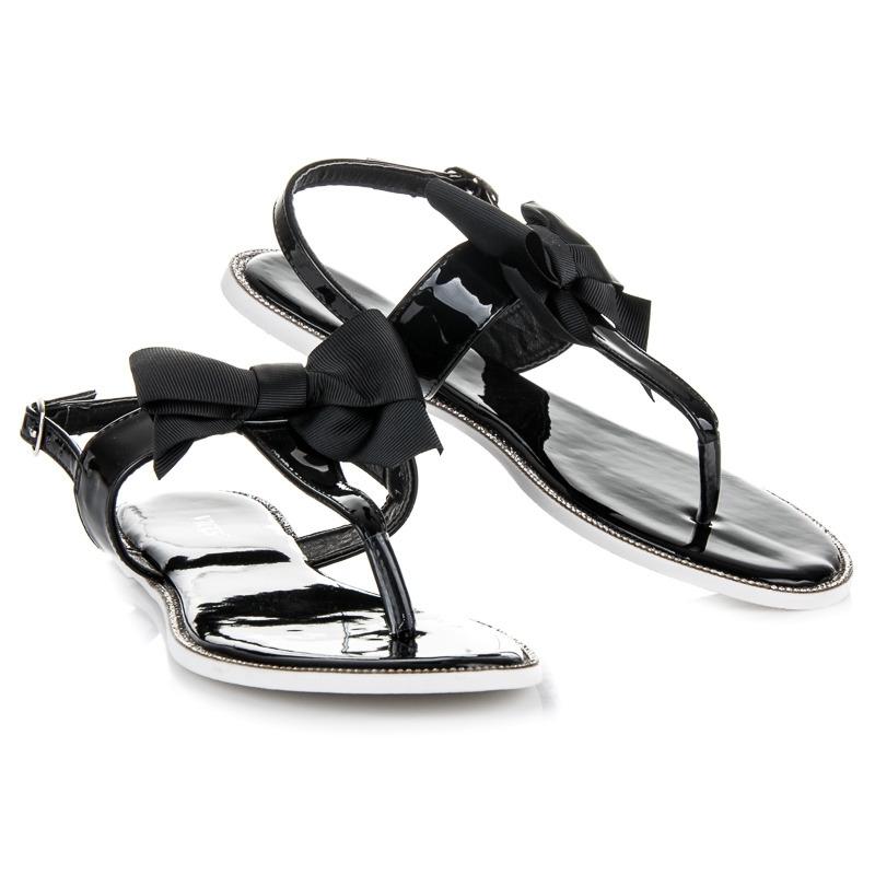 5396b5f4d2a1 Štýlové ploché čierne sandále s mašľou - 6130-1B