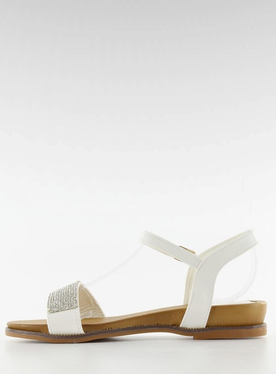 35fdaec74 Senzačné biele sandále s kamienkami - JA-61 | dawien.sk