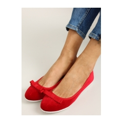 Skvelé červené dámske balerínky s mašličkou - lds-1a010