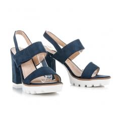 Modré semišové sandále na stĺpcovom podpätku - 3070-13D.BL