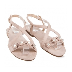 Ploché béžové semišové sandále s perličkami - 723BE