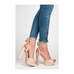 Luxusné béžové sandálky s viazaním - 1233-15D.BE