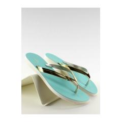 Štýlové tyrkysovo-zlaté žabky - PT79