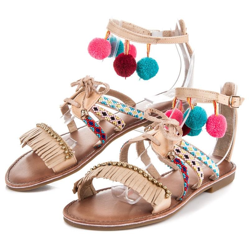 1c53e3b17390 Veľmi pekné etnické béžové nízke sandále - T161BE