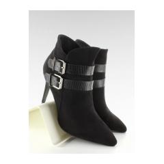Originálne dámske čierne členkové topánky - 4087