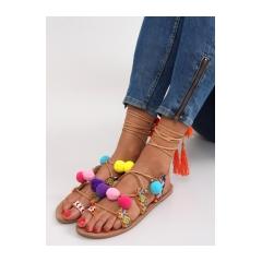 e5c7ac1b96 Hnedé šnurovacie sandále s brmbolcami - 1317