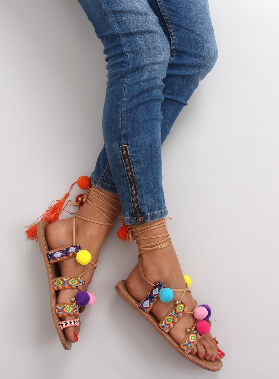 11aa288eadd1 Hnedé šnurovacie sandále s brmbolcami - 1317