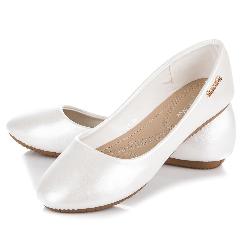 8c8f757af Luxusné dámske biele perleťové balerínky - K800W | dawien.sk
