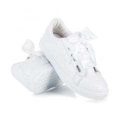 1e0895200 Dámske biele tenisky viazané stužkou - 8277-41W