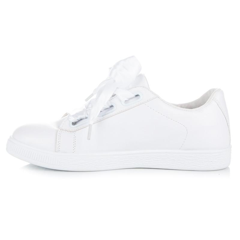 be7a738a1b Dámske biele tenisky viazané stužkou - 8277-41W