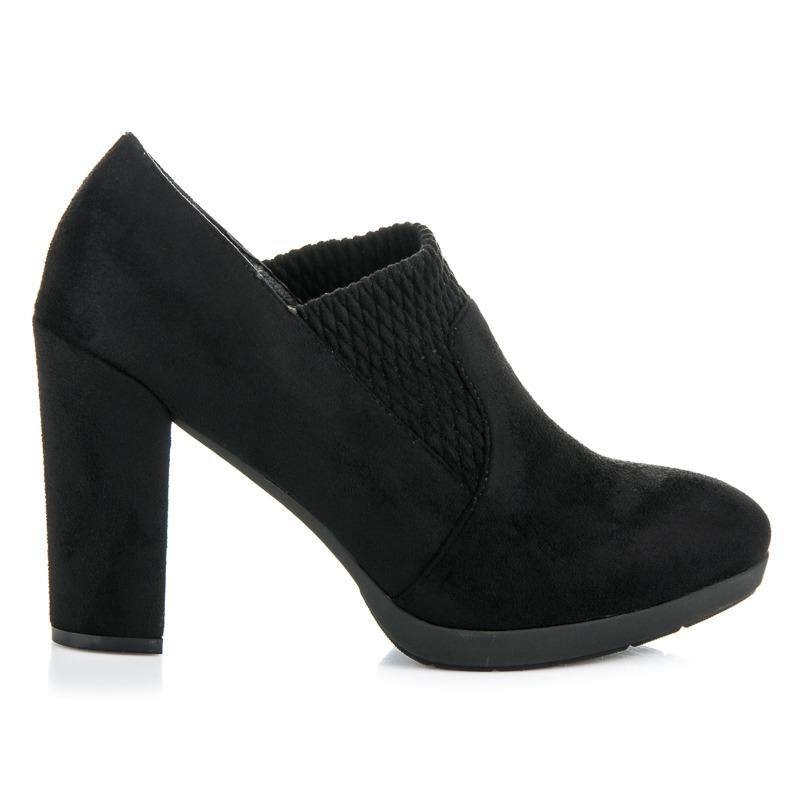 be1a7d82a3 Dámske čierne topánky na stĺpcovom podpätku - 6-232B