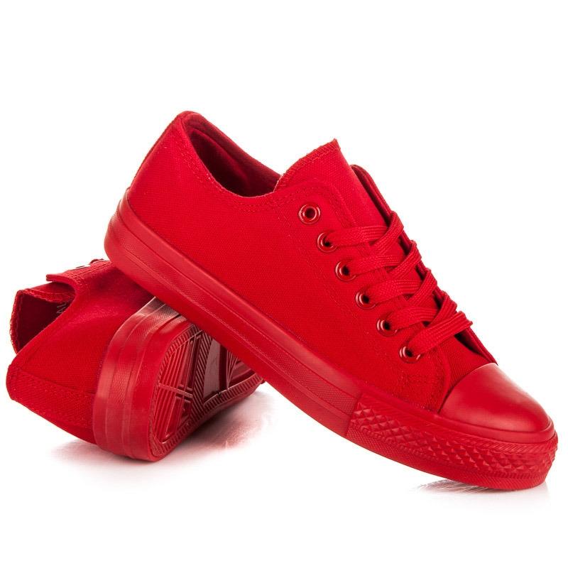 Pohodlné dámske červené tenisky - RAL-6R  37f114e950