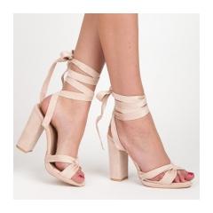 Elegantné béžové dámske sandále s viazaním - 1222-14BE