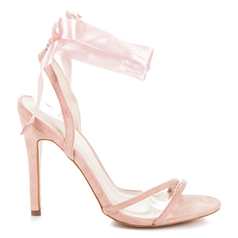 33d3dfdcabef8 Elegantné ružové sandále viazané stužkou - JM-96P   dawien.sk