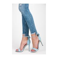 Semišové modré sandále s mašličkou - JZ-6341BL