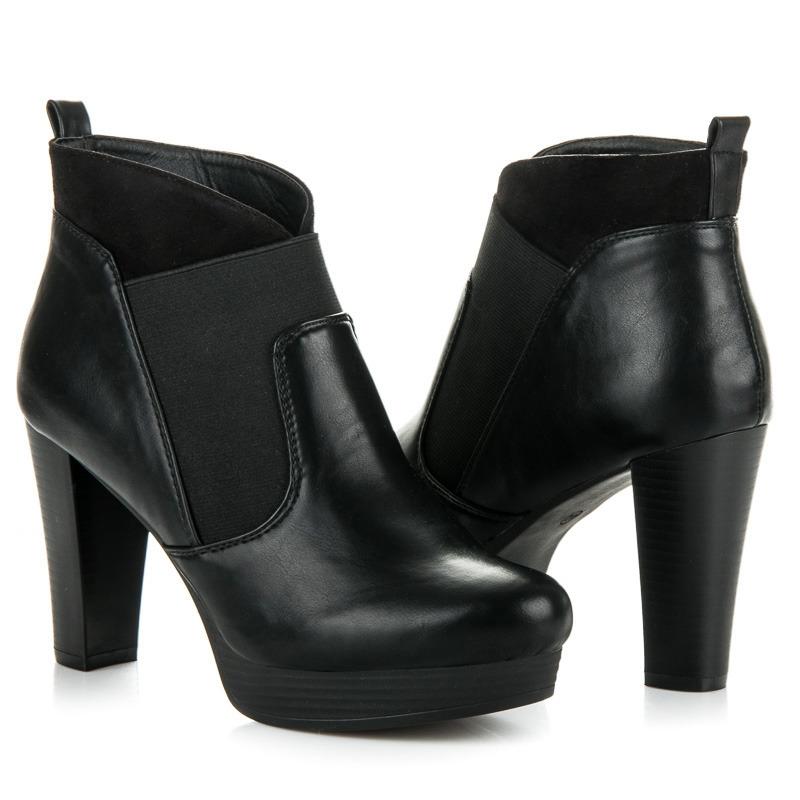 Nádherné čierne členkové topánky na platforme - RB17-424B  acb9c1b3d47