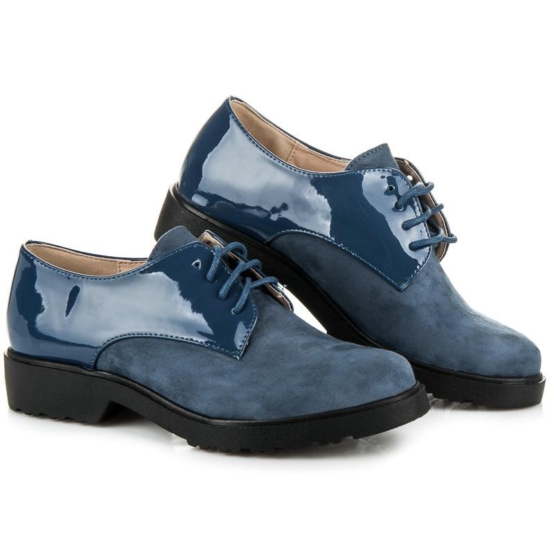 8430e508d9ae Dámske modré lakované poltopánky - 30626BL