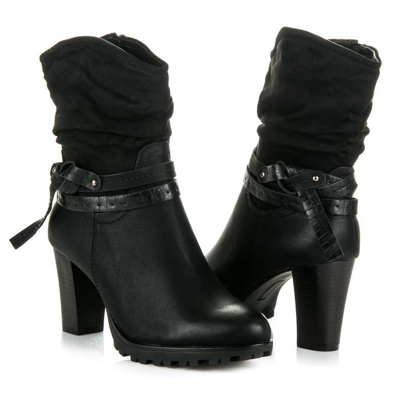5ec9095a9 Vysoké dámske čierne topánky na platforme - 964GA-B | dawien.sk