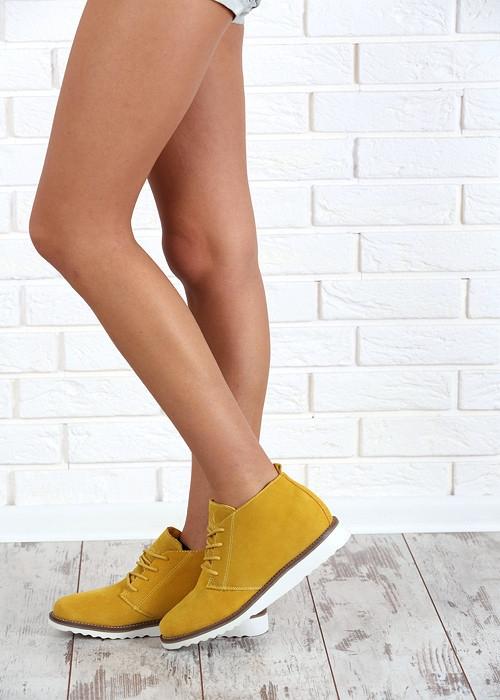 7fe737418a Dámske žlté kožené topánky - WS1272Y