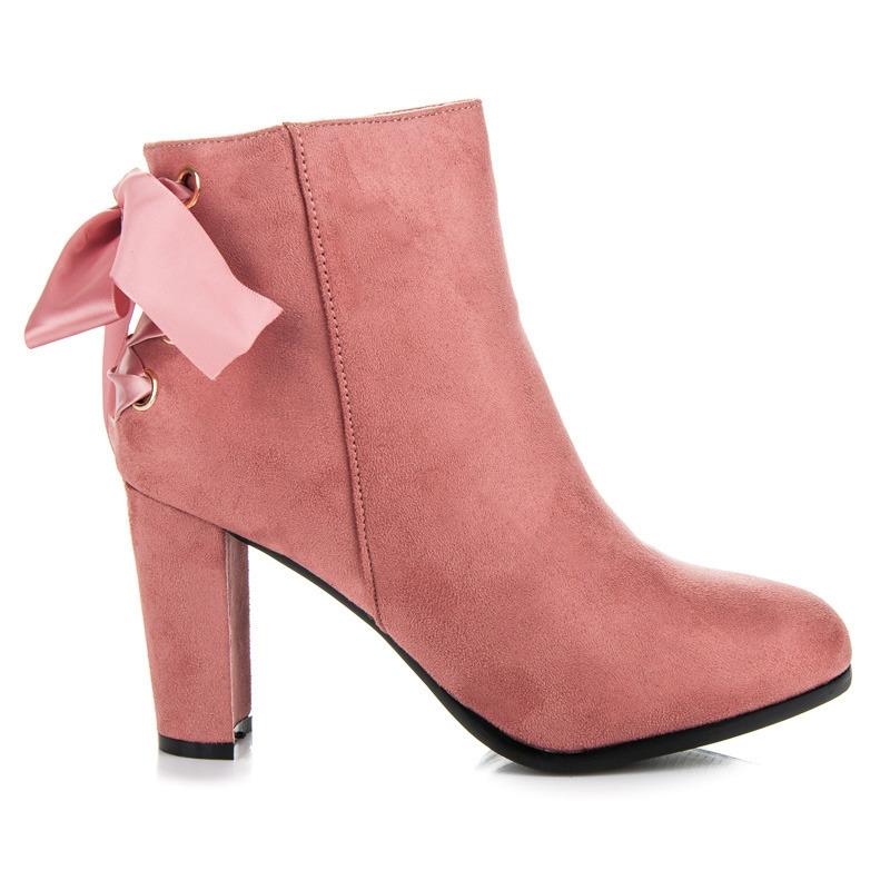 b35d120ff638b Vysoké ružové členkové topánky viazané stužkou - A852P | dawien.sk