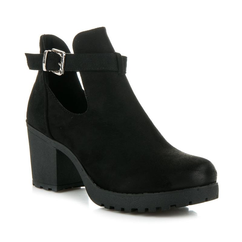 0a5291d8e3 Dámske čierne semišové topánky s prackou - E4891B