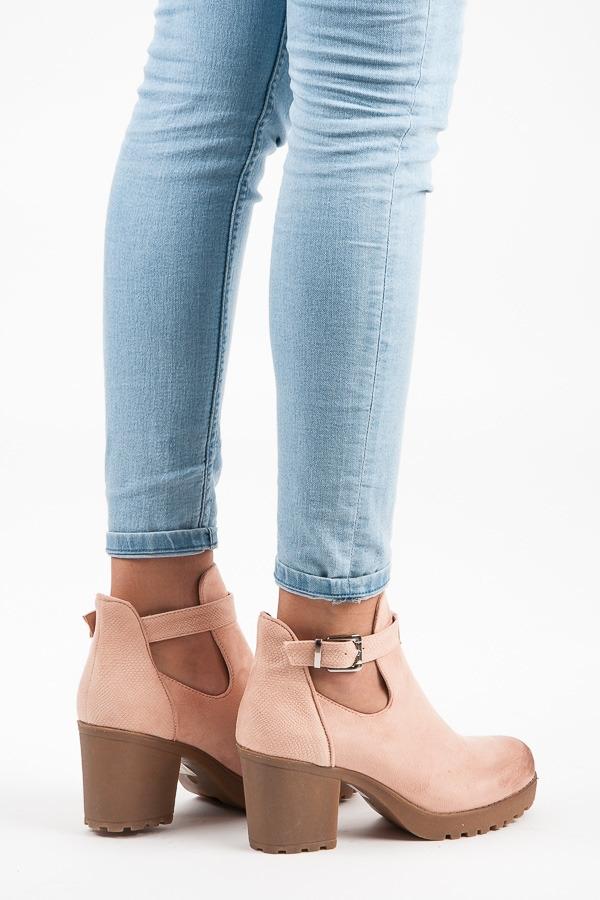 834e546605a6a Dámske ružové semišové topánky s prackou - E4891P | dawien.sk