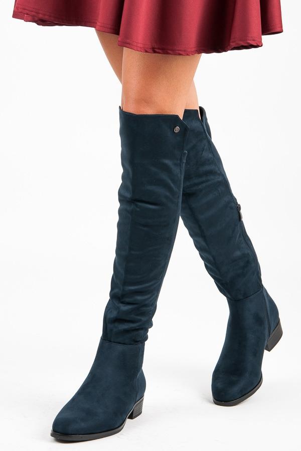 385ef219ecd8 Ploché modré čižmy nad kolená - HX18-2586N