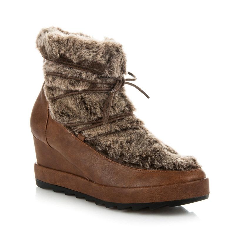 997144875ffa0 Dámske hnedé členkové topánky na kline s kožušinou - K1661002CU ...