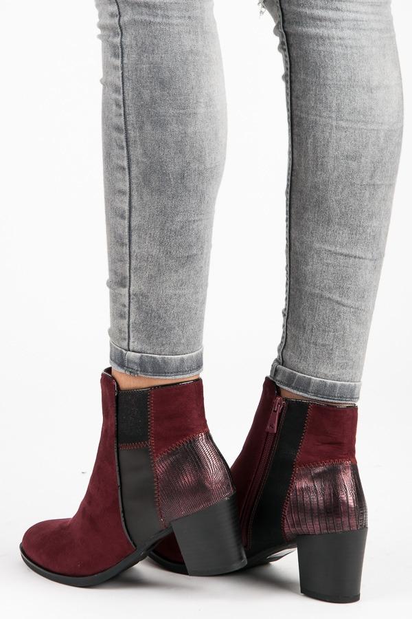 8684ad10c Vysoké dámske bordové členkové topánky - K1706708BUR | dawien.sk