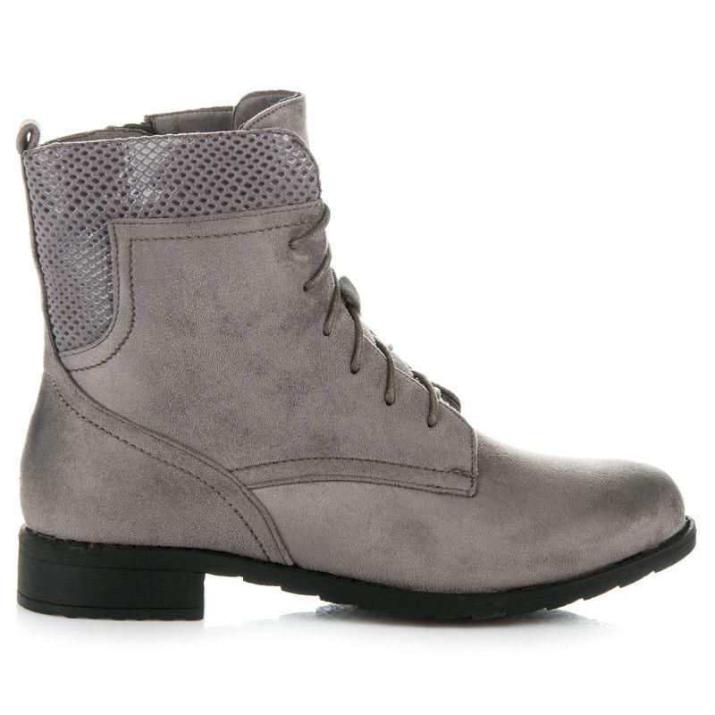 687debddf41c Dámske šedé topánky s hadím vzorom - J05G