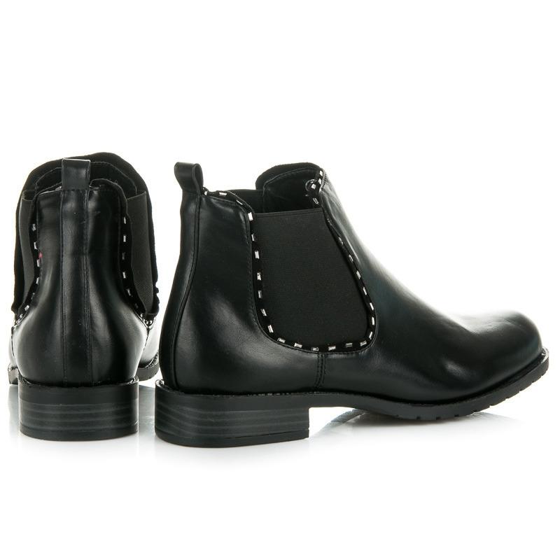 Dámske nízke čierne členkové topánky - 888-9B  1d5d1543fd1