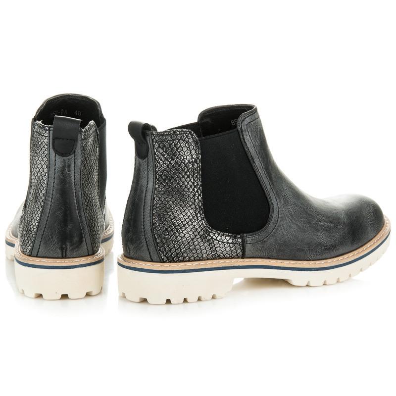 482592f4a9320 Klasické dámske čierne členkové topánky - 857-PA-B | dawien.sk