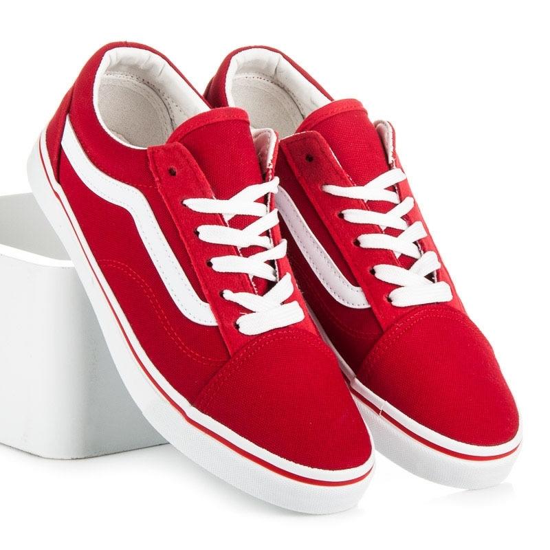Klasické dámske červené tenisky - KA19-19R  87f9d0109c