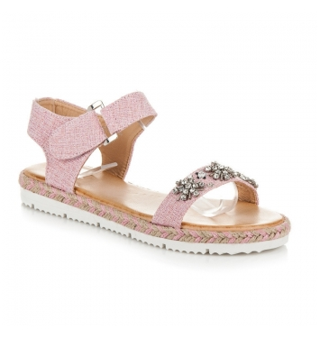 Ružové sandále na suchý zips - 3071-20P