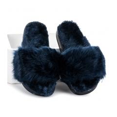 Dámske modré kožušinové šľapky - DD68BL
