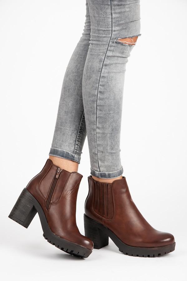 22a627665a145 Dámske hnedé topánky na platforme - A89623C   dawien.sk