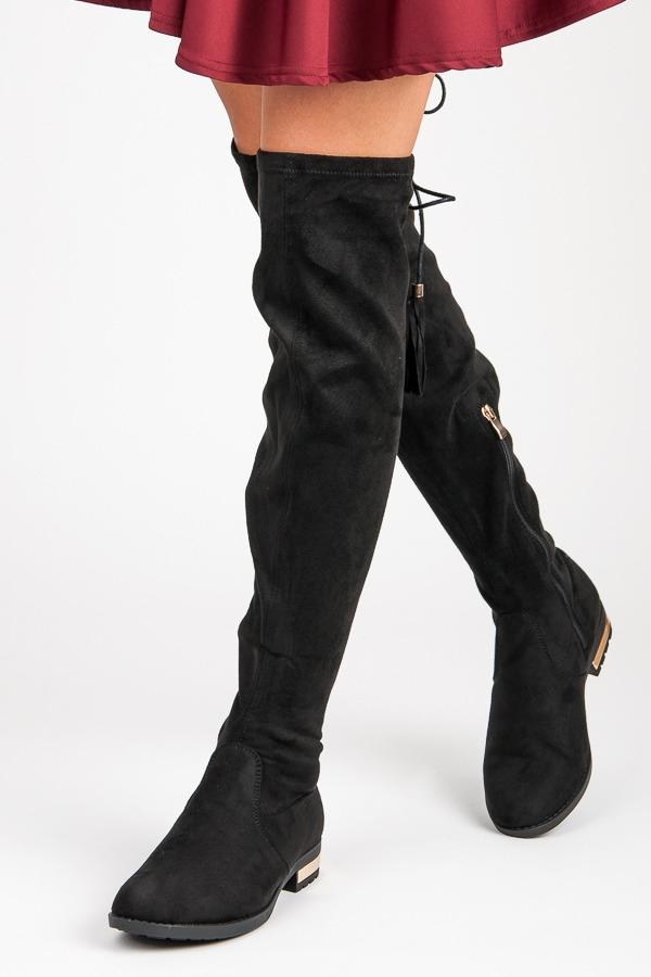 Čierne semišové vysoké čižmy so strapcami - G-43B  4db98650b4f