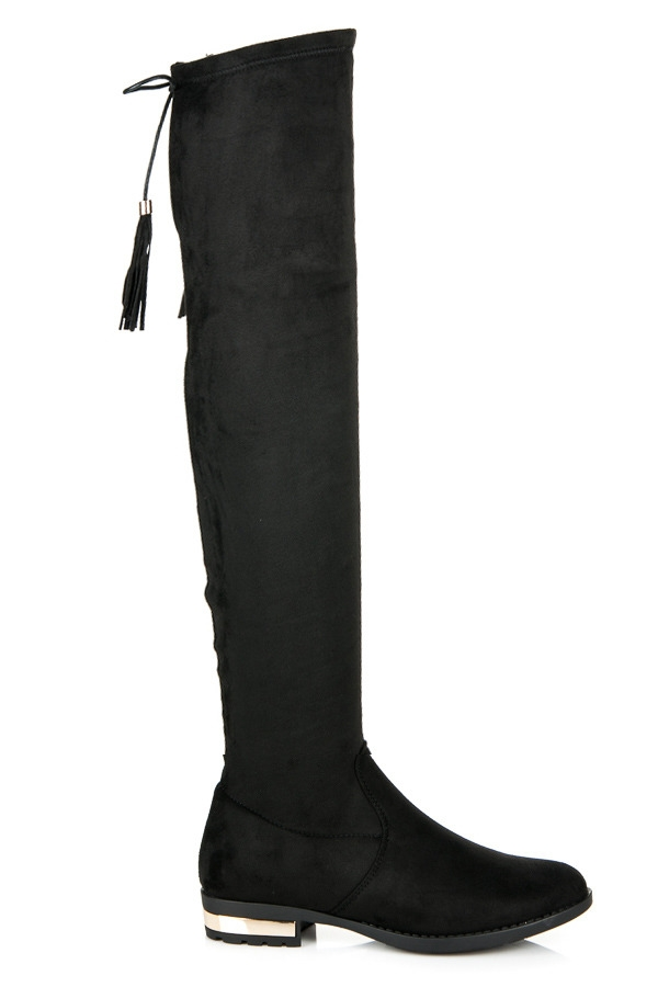 7bc25c485851 Čierne semišové vysoké čižmy so strapcami - G-43B