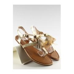 Zlaté dámske sandále so strapcami a pierkom - SL76