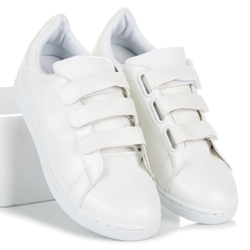 8016f48660743 Dámske biele tenisky na suchý zips - 8860W | dawien.sk