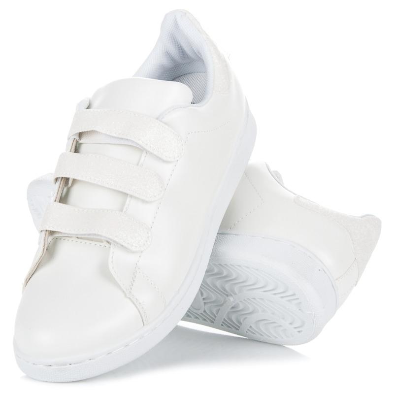 Dámske biele tenisky na suchý zips - 8860W  c478af18789