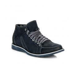 Pánske modré kožené zateplené topánky - 665N