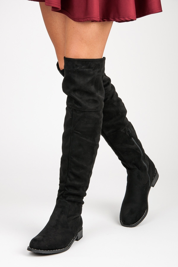f28b0a44f2b5 Čierne semišové čižmy nad kolená - 168-137B