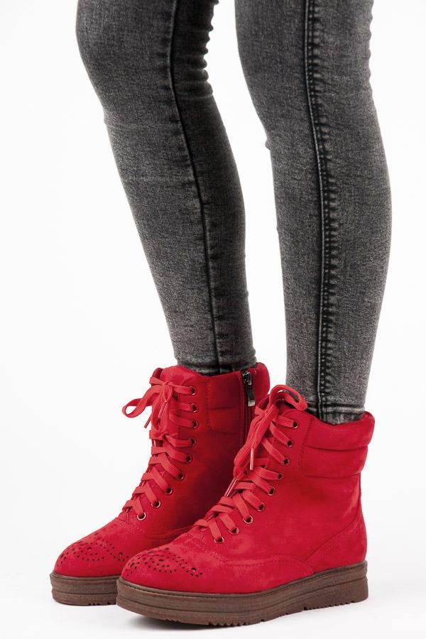 3fca841aa31c Dámske červené semišové členkové topánky na platforme - 2115-19R ...