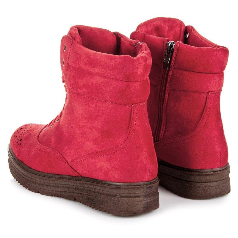 28f156d680a9c Dámske červené semišové členkové topánky na platforme - 2115-19R ...