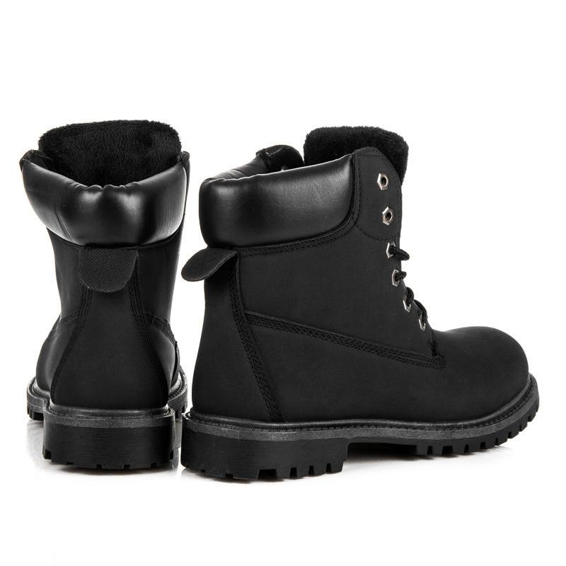 Dámske čierne topánky na šnurovanie - 35-188NE  53abc2b23b5
