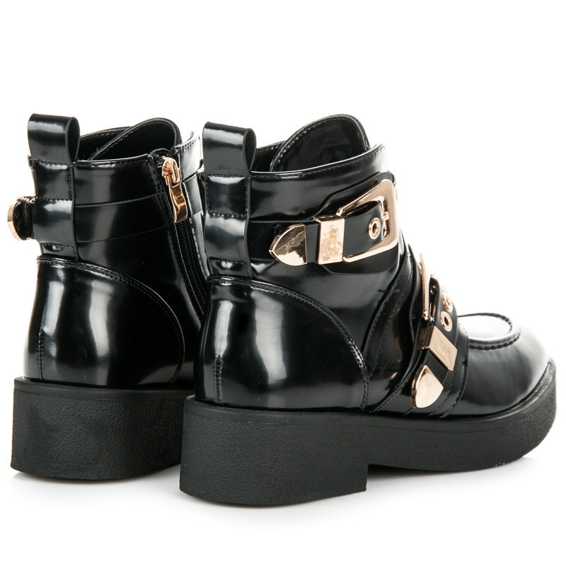 58c5d5d663dcb Dámske čierne lakované členkové topánky s prackami - 8335-1A-B ...