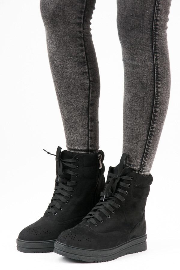 799b50ac29 Dámske čierne členkové topánky na šnurovanie - 2115-1B